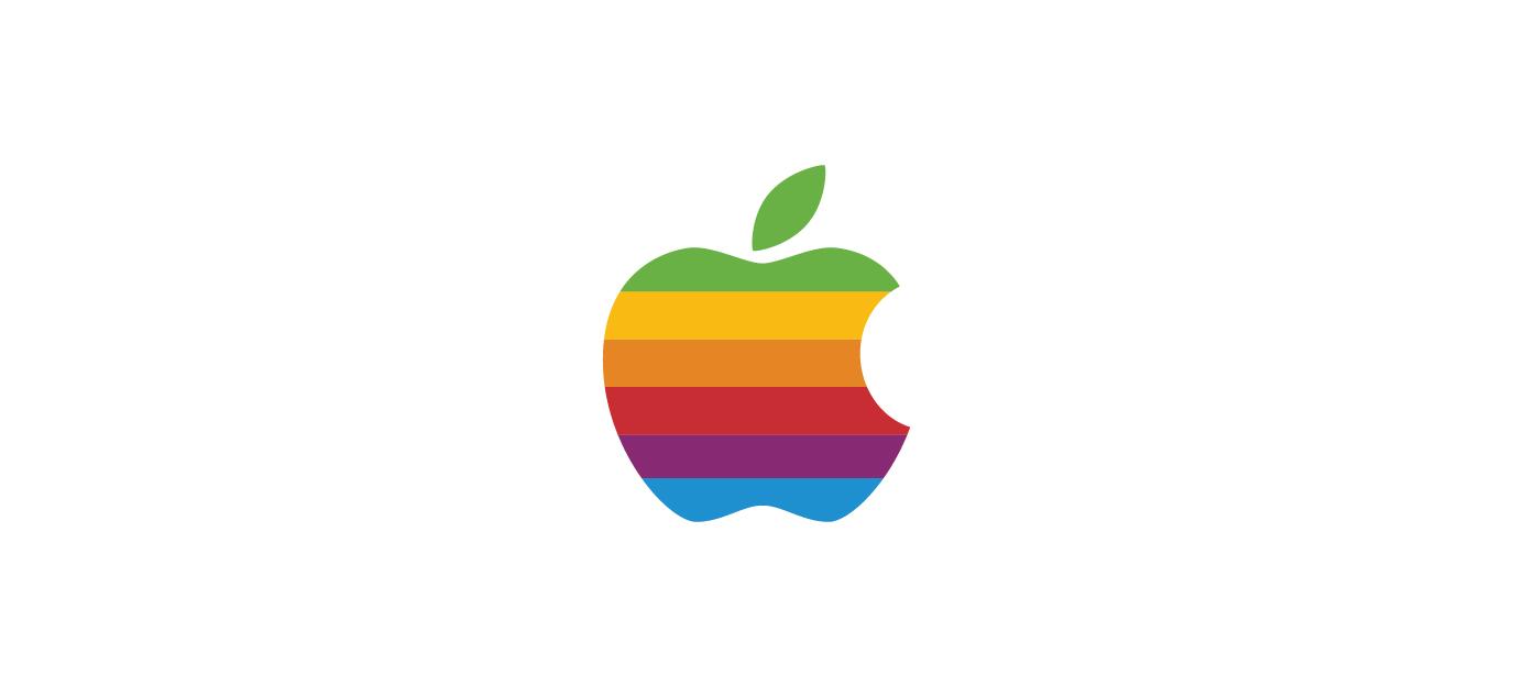 לוגו אפל בעיצוב רוב ג'אנוף, 1977, מופיע בפוסט זה כדוגמא וכהסבר (מבלי לפגוע בזכויות יוצרים)
